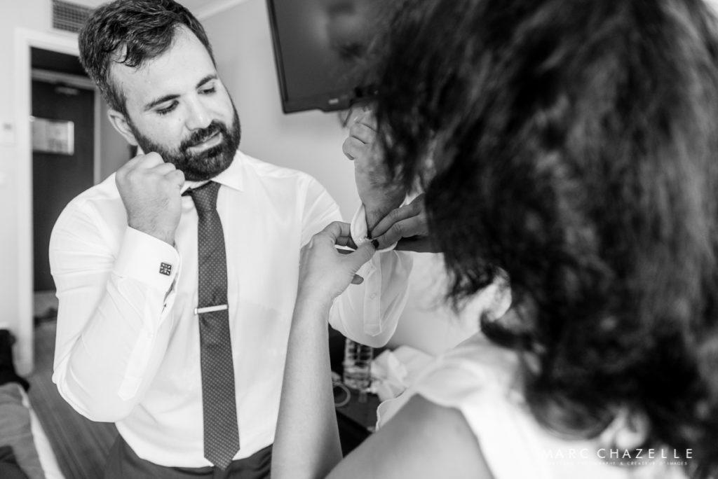 Préparatifs du marié à l'hôtel les voiles de Sainte-Adresse