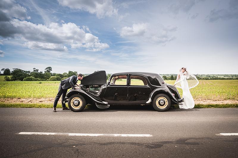 Coup de la panne mariage photo de couple