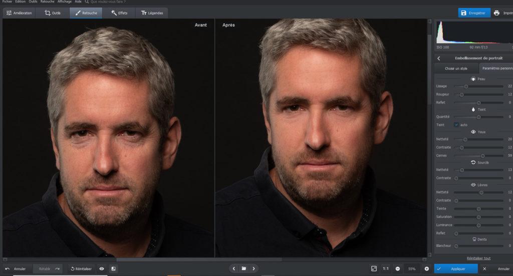 embellissement d'un portrait avec le logiciel photoworks
