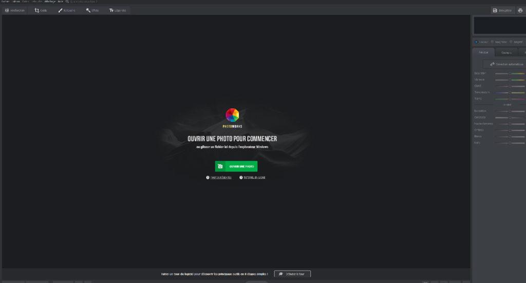 page d'ouverture du logiciel photoworks