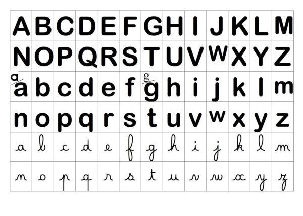 lettres de l'alphabet en noir et blanc