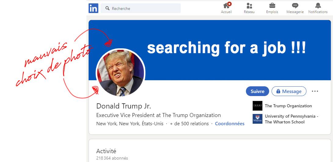 Profil de trump sur Linkedin